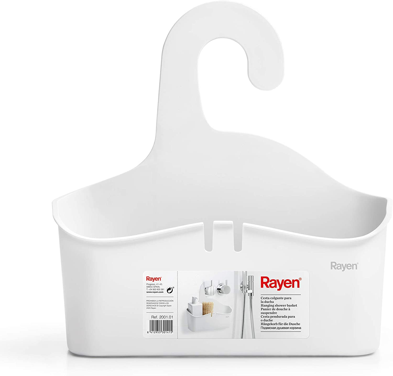 Rayen Cesta Colgante para la Ducha, Blanco, Medidas: 28 x 8 x 28 cm