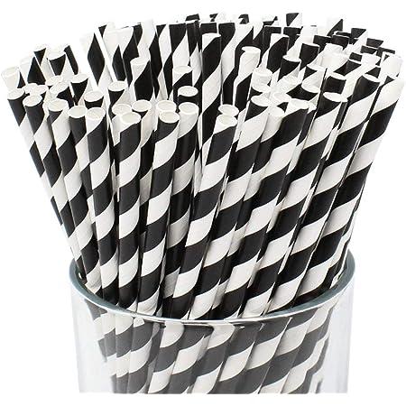 Just Artifacts Premium Biodegradable Disposable Drinking Striped Paper Straws (100pcs, Black)
