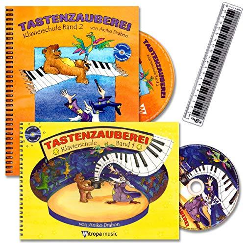 Tastenzauberei Band 1 und 2 - Klavierschule mit 2 x CDs für Kinder von Anike Drabon - für den Einzel- und Gruppenunterricht - mit 14 lustige Smiley-Sticker, Piano-Lineal
