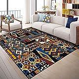 Alfombra decoración habitación Juvenil Antideslizante Alfombra Azul geométrica Azul Negra roja Fácil de Limpiar alfombras para Salon Rugs for Living Room 140X200CM