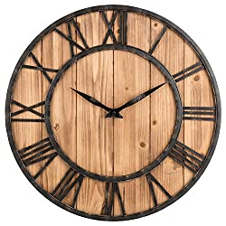 Oldtown Farmhouse Rustic Barn Vintage Bronze Metal & Solid Wood Noiseless Big Oversized Wall Clock (X-Large 24-inch)