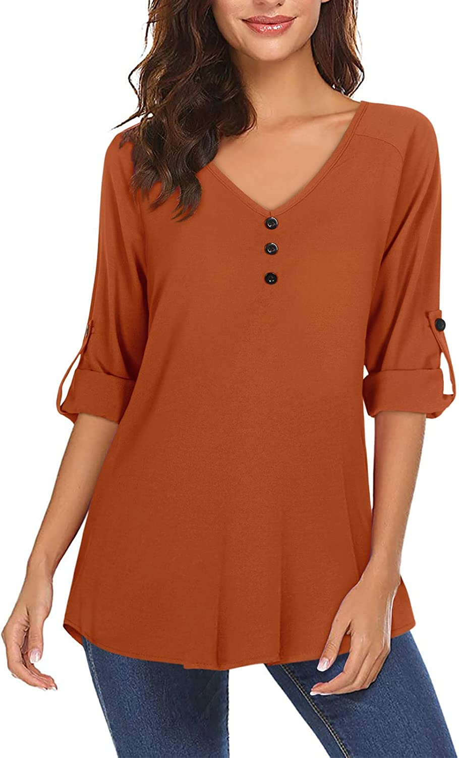 Moyabo Women's 3/4 Cuffed Sleeve Button Down V Neck Shirts Long Sleeve Blouse Casual Solid Chiffon Blouse Tops