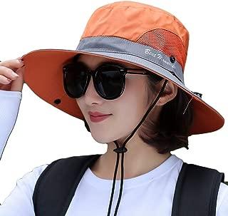 Hats Sun Hat Polyester Quick-Drying Mesh Breathable Woman Hat Sun Hat Beach Outdoor Foldable Adjustable Anti-UV Spring Summer Sun Hat Sun Hats (Color : Orange, Size : Head 55-60cm)