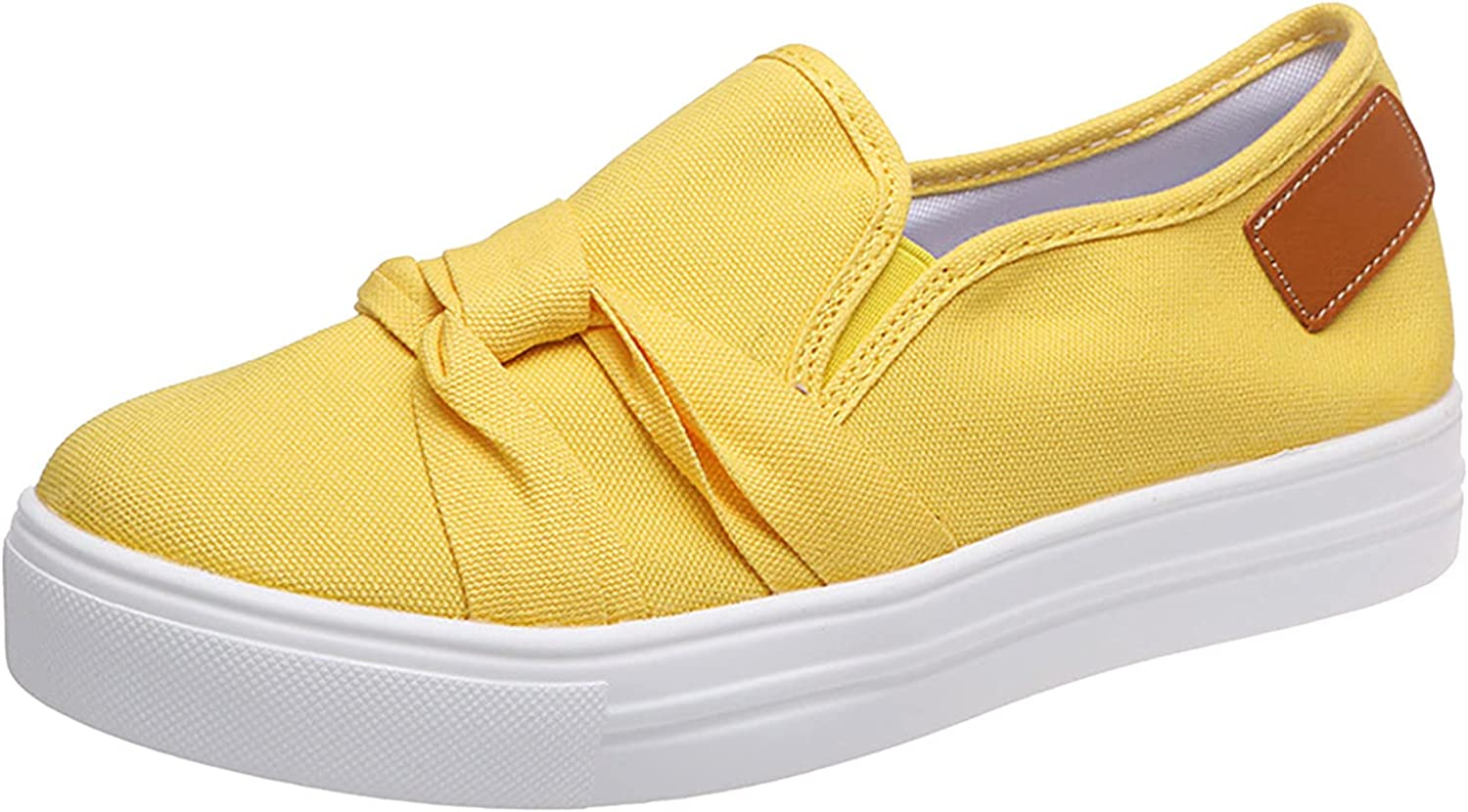Women's Bowknot Elastic Solid Color Flat Breathable Canvas Shoes Loafers Slip On Flats Comfort Driving Office Loafer Shoes
