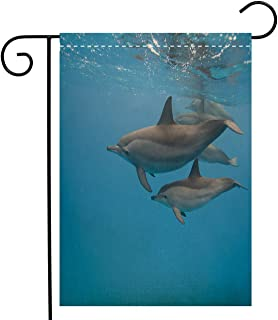 BEIVIVI Creative Home Garden Flag Spinner Dolphins Mother and Calf Garden Flag Waterproof for Party Holiday Home Garden Decor, Linen 12 x 18 inch