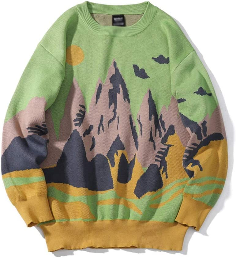 ZYING Winter Knitwear Mens Sweaters Harajuku Hip Hop Landscape Painting Fashion Casual Male Pullovers Outwear Streetwear Jumper (Color : Green, Size : M-length-68CM)