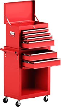 Goplus 6-Drawer Rolling Tool Chest Removable Tool Storage Cabinet with Sliding Drawers, Keyed Locking System Toolbox Organizer (Red): image