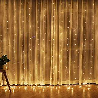 Best Twinkle Star 300 LED Window Curtain String Light for Christmas Wedding Party Home Garden Bedroom Outdoor Indoor Wall Decorations (Warm White) Reviews