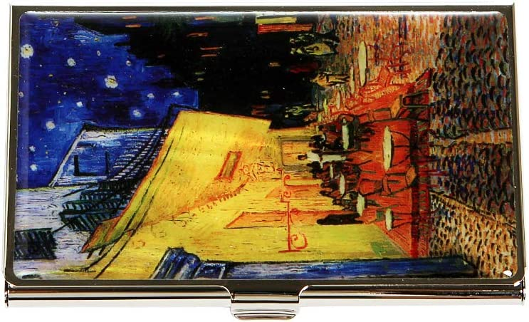 Mother of Pearl Business Card Case Credit Id Name Holder Travel Wallet Art Painting Design Metal Stainless Steel Engraved Slim Purse Pocket Cash Money Wallet (Cafe Terrace at Night)