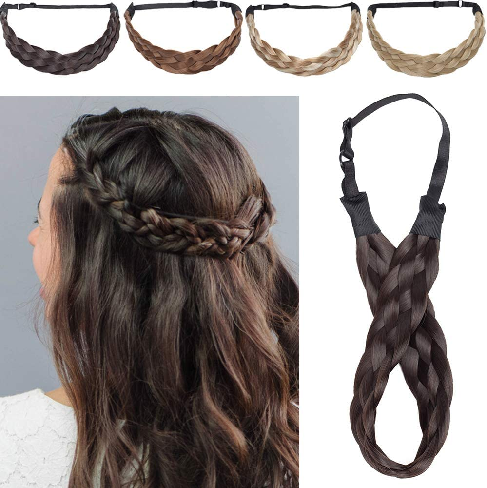 5 Strands Silk-co Extensiones de Pelo Sintético Braid hair Trenzadas Elásticas Se Ve Natural Braided Headbands for Women Pelo Trenzado Accesorios 1.5