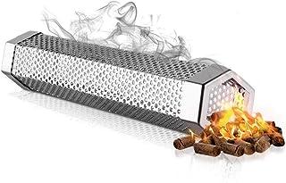 Pellet Smoker Tube, Stainless Steel BBQ Wood Pellet Tube Smoker for Cold/Hot Smoking, Portable Barbecue Smoke Generator Wo...