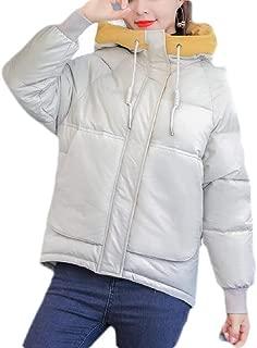Macondoo Women Winter Loose Coat Quilted Hoodie Puffer Short Down Jacket