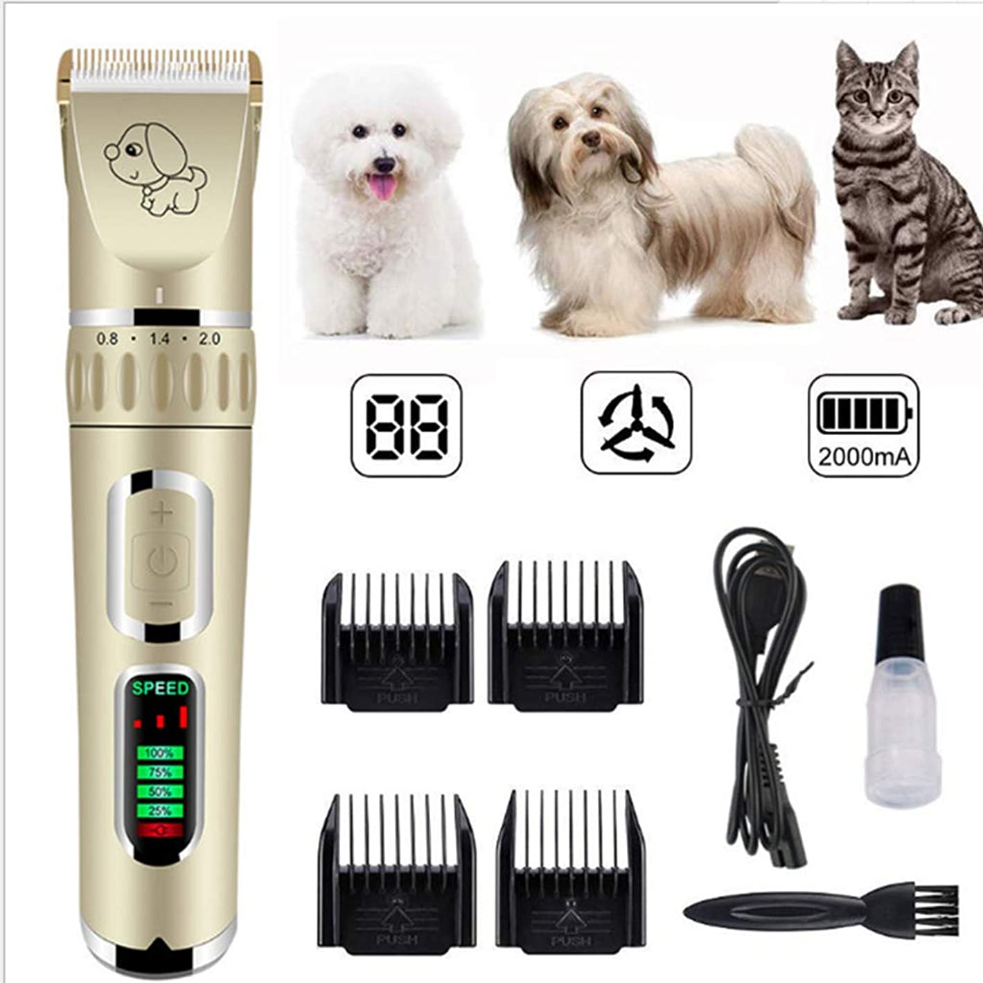 電卓アンビエントスイング電気ペットバリカン、USB充電バリカン/シェーバー、犬、猫コードレスバリカン