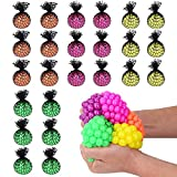 "Totem World 24 Colorful Sewn Mesh Stress Balls - 2.4"" Squishy Fidget Toy Perfect for Kids and Adults Materials for Lasting Use - Squeeze Balls for Anxiety and Concentration - Great Party Favors"