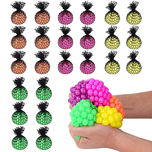 Totem World 24 Colorful Sewn Mesh Stress Balls - 2.4' Squishy Fidget Toy Perfect for Kids and Adults Materials for Lasting Use - Squeeze Balls for Anxiety and Concentration - Great Party Favors