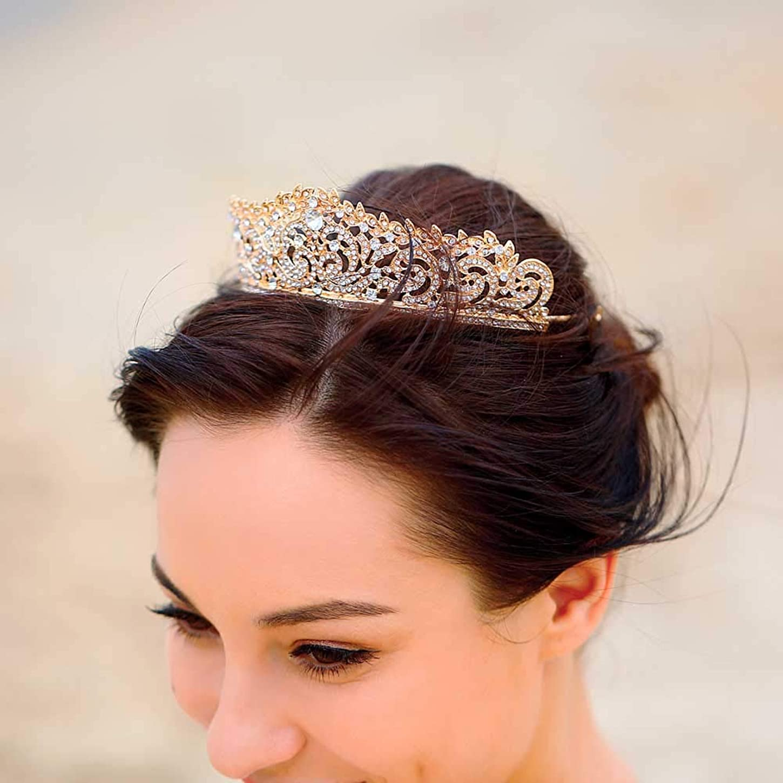 巨大残基オーディション女性のための花嫁の金の王冠の毛の付属品のためのJovonoの結婚式の王冠そしてティアラ