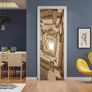 Xxxch Adesivo Porta Blocco Di Legno 95x215cm 3d Adesivi Per Porte Corridoio Immagine Vinile Removibile Murale Manifesto Scena Porta Adesivi Murali Casa Decorazione D Arte Amazon It Fai Da Te