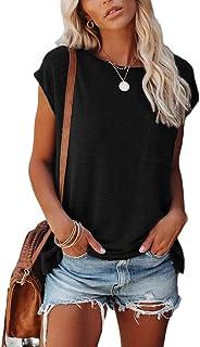 OrientalPort Maglietta da donna a maniche corte estiva, girocollo, casual, tinta unita, con tasca