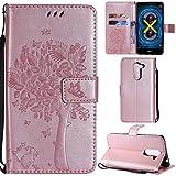 Ooboom® Funda para Huawei Honor 6X Flip Wallet Case Cover Carcasa Piel PU Billetera Soporte con Ranuras Tarjetas Cierre Magnético - Oro Rosa