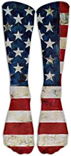 Retro American Flag Knee High Graduated Compression Socks for Women and Men - Best Medical, Nursing, Travel & Flight Socks...