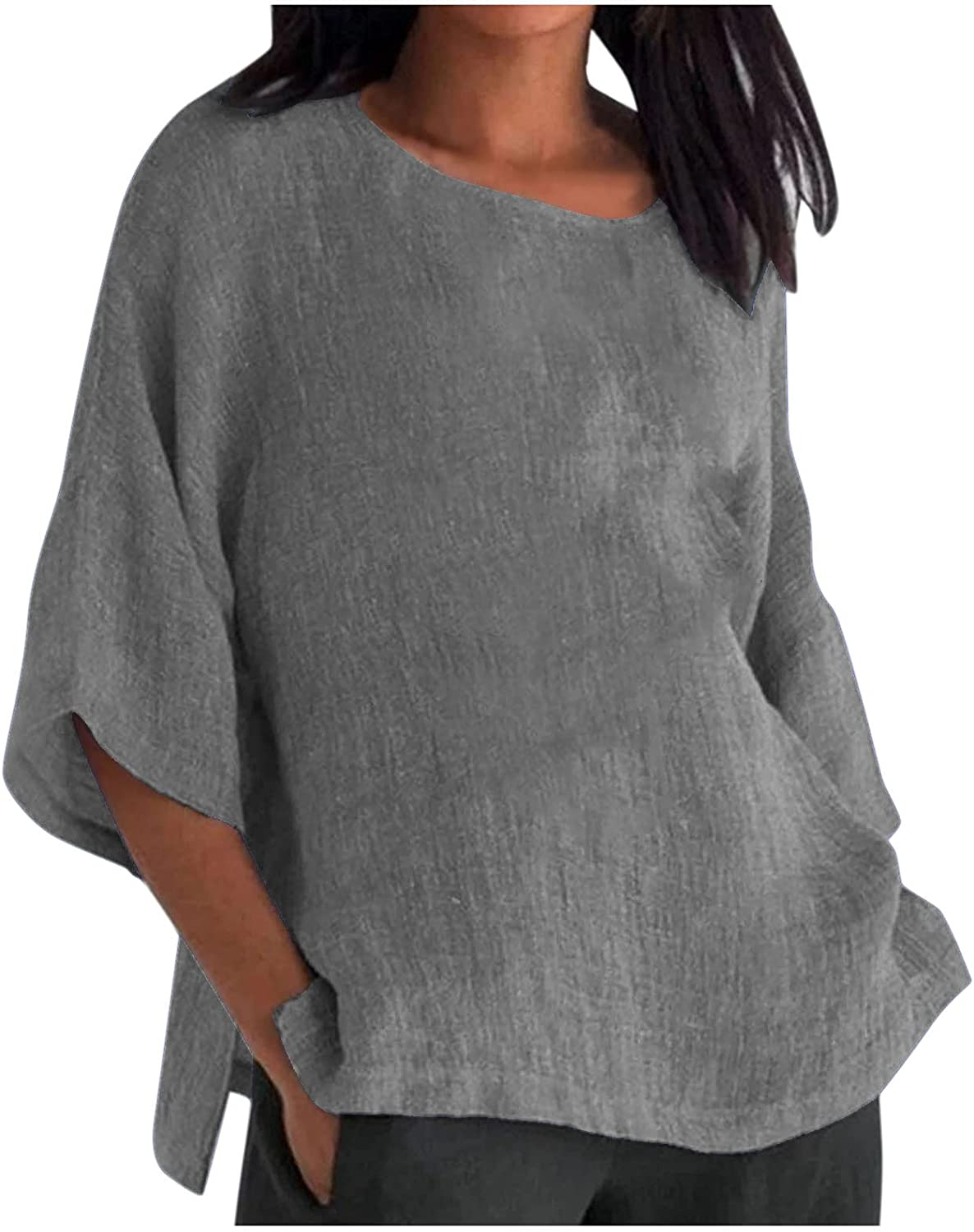 Women's Plus Size Cotton Linen Tops Summer Cropped Sleeve Solid V-Neck Loose Shirt Tunic Tops Blouse