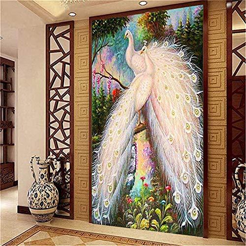 DIY 5D pintura de diamante punto cruz Kit números Pavo real flor diamond painting adultos niño Completa Crystal Rhinestone Bordado Manualidades para 70x140cm