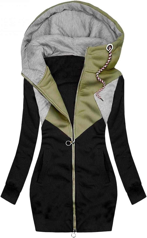 FABIURT Sweatshirt for Women Zip Up,Womens Casual Color Block Hoodie Long Sleeve Hooded Sweatshirt Pockets Jacket Coat