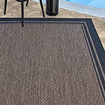 Gertmenian 21358 Outdoor Rug Freedom Collection Bordered Theme Smart Care Deck Patio Carpet, 5x7 Standard, Border Black Nut Brown