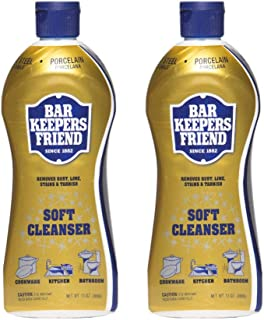 Bar Keepers Friend Soft Cleanser Liquid 13 oz Multipurpose Cleaner & Rust Stain Remover for Stainless Steel Sinks and Countertops, Porcelain and Ceramic Tile, Copper, Brass, and More (2)