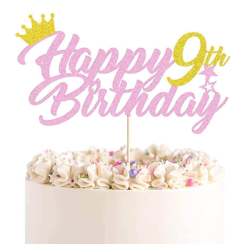 Happy 9th Birthday Cake Topper Gold Nine Birthd Pink Glitter 5 popular sale and