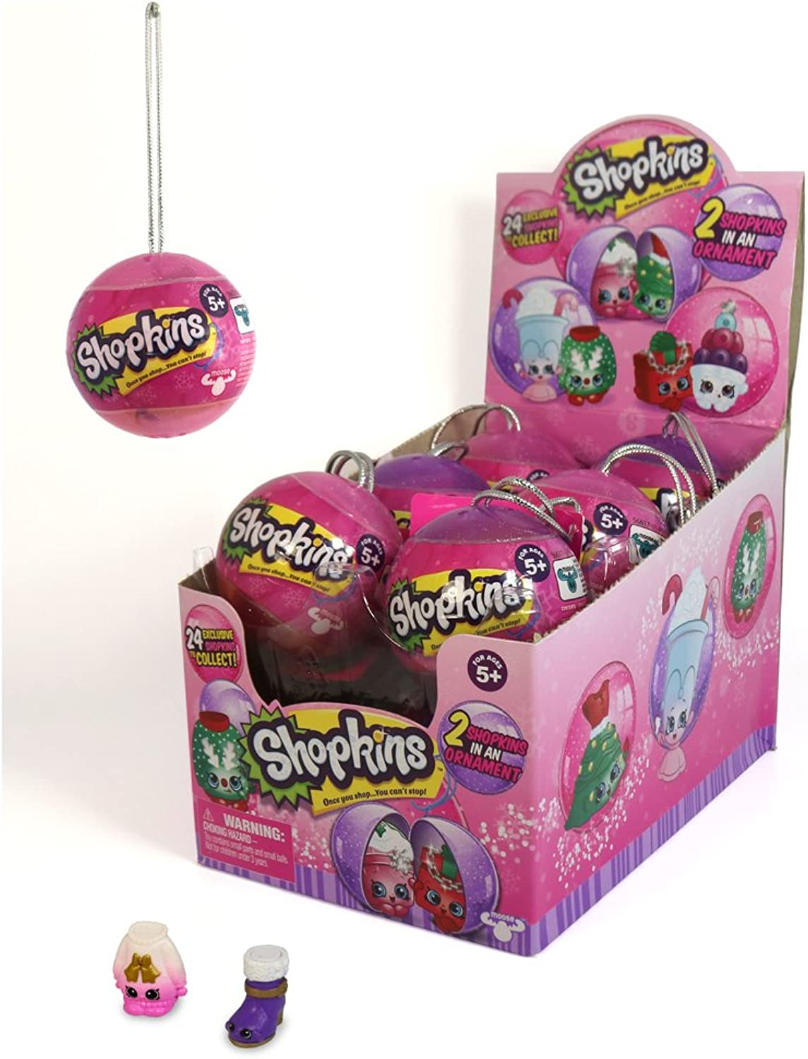 License To Play 2017 Shopkins Christmas Ornaments Bauble Case of 12 (2 per Bauble)