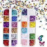 Lentejuelas de Uñas Mariposa Purpurina Polvo Uñas Nail Polvo Glitter Nail Sequins para...