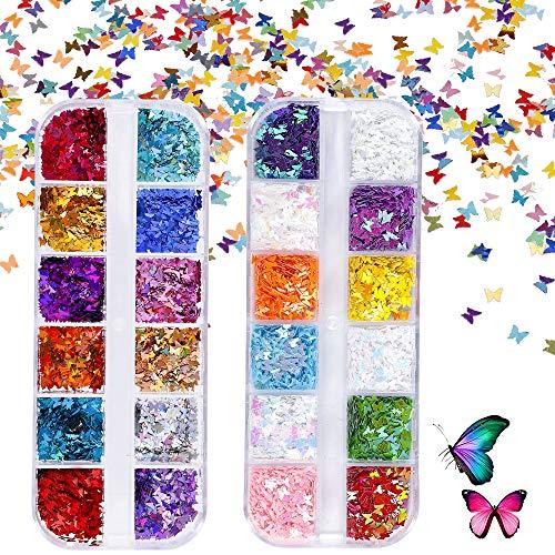 Schmetterling Nagel Glitzer für Gesicht Nägel Augen Lippen Haare Körper Make-Up Glitzer für Musik Festival Masquerade Party Clubs Weihnachten 24 Farben