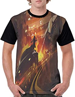Summer Casual O-Neck,Modern Decor,Outer Space Chase Scene of a Shuttle Aeroplane and a Car Fire on Road Artwork,Multicolor S-XXL Baseball Short Sleeve
