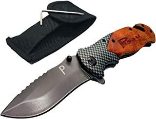 Pisau- Folding Knife with Wooden handle-Small Manual Opening Which Fit in your Pocket Perfect for Camping tools, Hunting, ...
