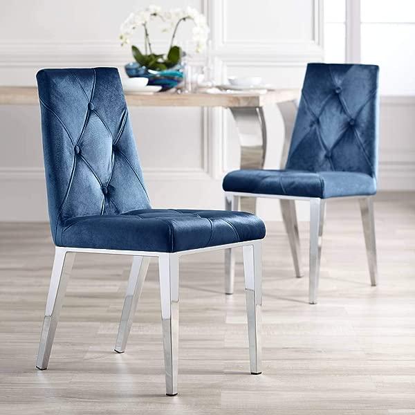 Allison Blue Velvet Dining Chairs Set Of 2 Studio 55D