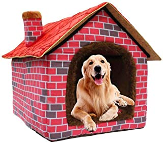 Hanshu Warm Indoor Soft Kennel Pet Large Dog House Doggy Beds with Mat, Red