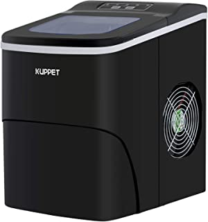 KUPPET Portable Ice Maker, Countertop Ice Machine with Self-clean Function, Ready in 6min, 26 lbs/day Ice Cubes, Ice Scoop and Basket (Black)