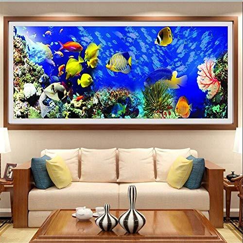 DIY 5D Pintura diamante Kits Pez Mar Azul Full Crystal Diamantes de imitación Diamantes painting Adulto Bordado de punto de cruz Canvas Artesanía de Home dormitorio Wall Decor regalo 30x90cm