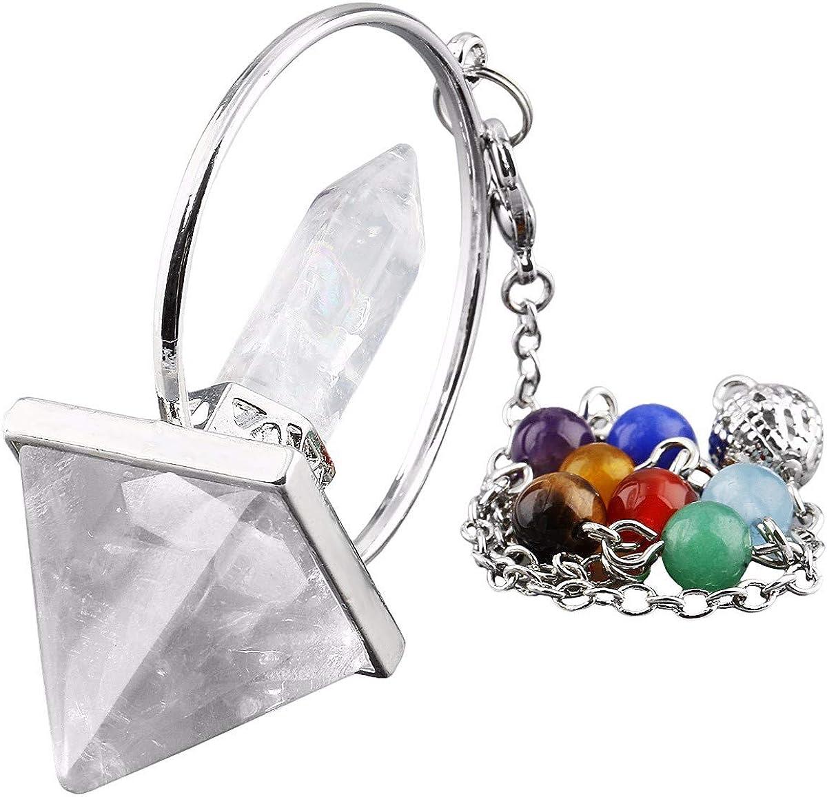 TUMBEELLUWA Healing Crystal Quartz 7 Chakra Pendulum Dowsing Gemstone Divination Reiki Stone