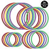 OOTSR 24 pz Anillo de plástico para Juego de Lanzamiento de Anillos, Juegos de práctica de Velocidad y Agilidad, Fiesta, Carnaval, Jardín, Jjuegos al Aire Libre (4 tamaños, 6 Colores)