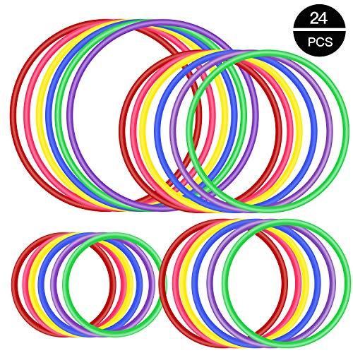 OOTSR 24 stücke Kunststoff Toss Ringe Set für Ring Toss Spiel, Drinnen draußen Kinder Target Übungsspiele, Party Favor Spiele, Karneval, Garten, Hinterhof, Game Booth (4 Größen, 6 Farben)