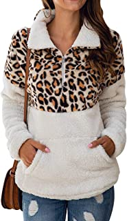 Uni Clau Women's Leopard Long Sleeve 1/4 Zipper Sherpa Fuzzy Fleece Pullover Outwear Coat Sweatshirt with Pocket White