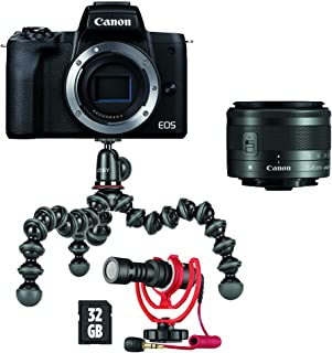 Canon EOS M50 Mark II Mirrorless Vlogging Camera Kit with EF-M 15-45mm Lens, Black