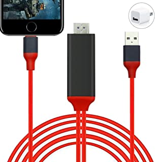 HDMI Adapter Compatible with iPhone, iPhone to HDMI Adapter, 6.6ft 1080P Digital AV Adapter Sync Screen Connector HDTV Cable for iPhone iPad iPod Models to TV Projector Monitor (Red)