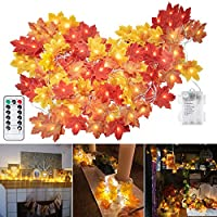 Minetom Fall Maple Leaf String Lights with 8 Lighting Modes Orange Fall Garland Lights Decor