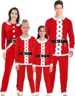 Uideazone Family Matching Christmas Pajamas Set Top and Long Pants Sleepwear Homewear PJ Sets