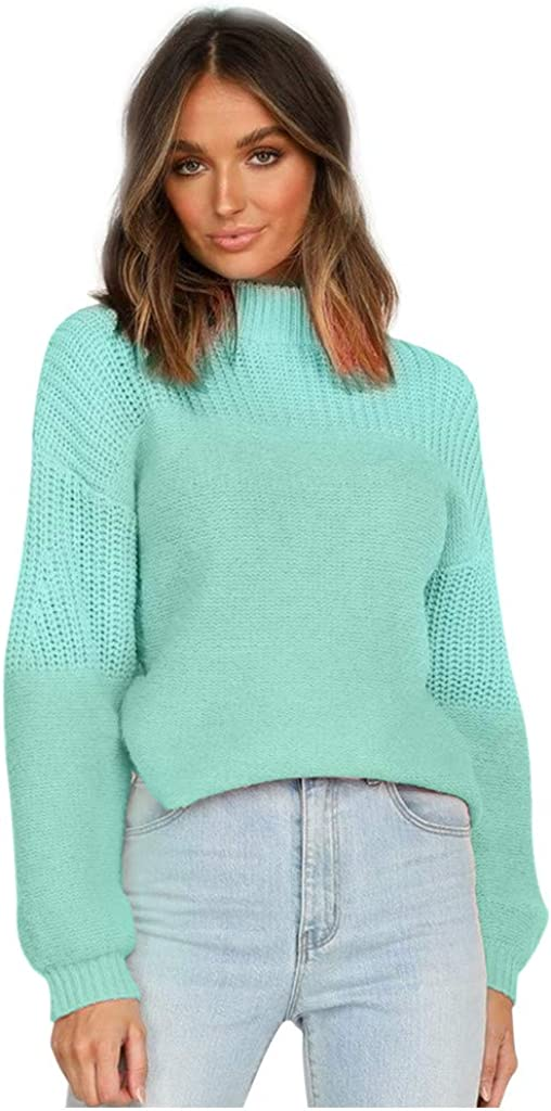 Sweaters for Women Solid Color Knitted Blouse Round Neck Casual Pullover Long Lantern Sleeve Casual Tops
