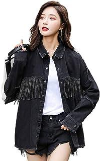 Cappotto Giacca di Jeans Allentata con Frange alla Moda Vintage Cappotto da Donna con Maniche Lunghe sfrangiate a Maniche ...