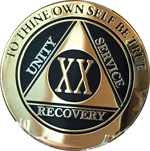 RecoveryChip 20 Year AA Medallion Elegant Black Gold Silver Bi-Plated Alcoholics Anonymous Chip